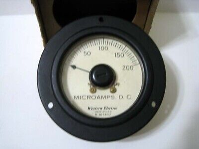 Western Electric ® 0 - 200 DC Microamperes - D-167807 Round Black Panel Meter