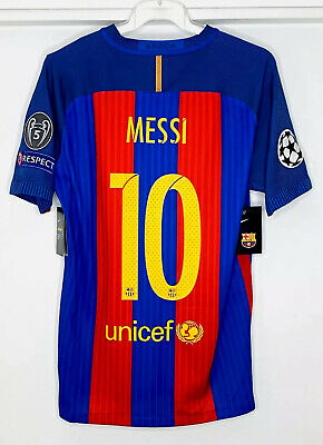 """2016-17 Fc Barcelona Messi UCL Home Player Issue """"Authentic"""""""
