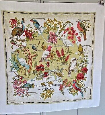 Vintage Tablecloth Australia Souvenir Flowers Birds Linen Brilliant Colors NEW