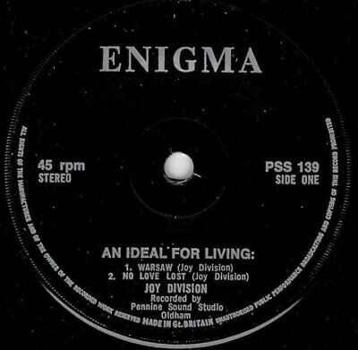 JOY DIVISION Signed AN IDEAL FOR LIVING 7″ Enigma EP From MANAGER ROB GRETTON