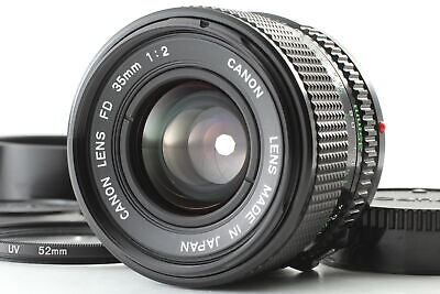 [MINT] Canon NEW FD NFD 35mm F2 Wide Angle Lens w/ Hood + Filter From JAPAN