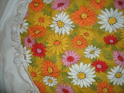 """Mid Century Modern Cotton Linen Large Round Tablecloth Floral Daisy Vintage 38"""""""