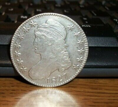 1827 Capped Bust Half Dollar Silver Coin 50c Extremely Nice #CW02
