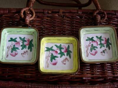 Vintage Set of 3 Enamel on Brass Floral Pin Trays Small Chinese Trinket Dish Lot