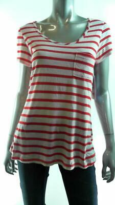 Keds Junior Womens Stretch Short Sleeve Blouse Top SZ S Striped Red White Sale