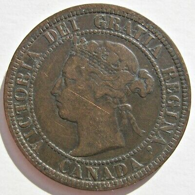 Canada 1882-H Queen Victoria Bronze Large Cent Coin (Km# 7)
