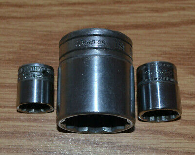 "Snap-On 1'1/4 1/2 Dr 12pt SW401 18mm 3/8"" Dr 12pt FM18  5/8 3/8"" Dr 12pt F200"