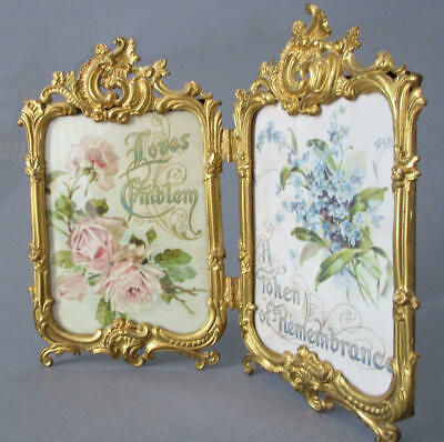 Antique c1900 FRENCH Rococo GILT Brass Double Frame Plump SCROLLS Roses + PLUMES