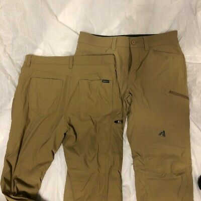 TWO Mens 33x30 & 34x30 Work. 2 Brown Beige Casual Pants by Eddie Bauer