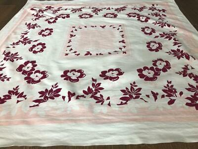 """TABLECLOTH 51"""" x 49"""" sq MAROON & PINK on WHITE 1940s-1950s not perfect but good"""