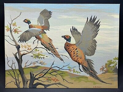 "Vintage Paint By Number MALLARDS IN FLIGHT Birds Ducks 12"" x 16"""