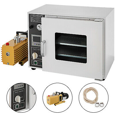 1.9 CF Vacuum Oven w/ 9 cfm 2-Stage Pump St Tubing Oil-Fill Gauge 5-Sided 1400W