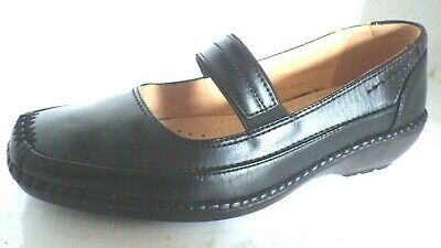 SIZE 5 LADIES LEATHER WEDGE SHOES BY CUSHION WALK BLACK CASUAL mary jane new