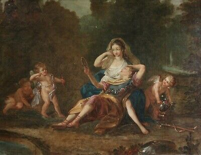 c. 1700 HUGE FRENCH OLD MASTER OIL ON CANVAS - ARMIDE & RENAUD - LULLY OPERA