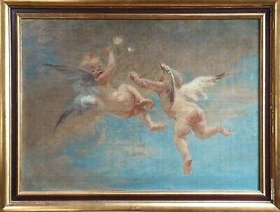 19th CENTURY HUGE FRENCH OIL ON CANVAS - STUDY OF TWO CHERUBS IN CLOUDS