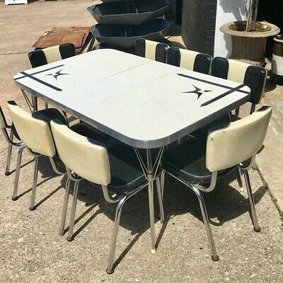 Mid-Century Modern Kitchen Table - Gray Formica, Good Condition 36 x 48 (to 60)