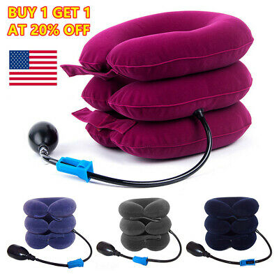 Air Inflatable Neck Pillow Cervical Head Traction pain Relief Therapy Device N4
