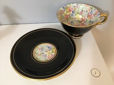 Rare Black & Gold Exterior Royal Winton Chintz Footed Marion Cup And Saucer