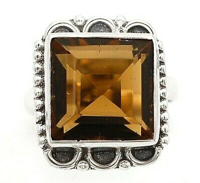 6CT Smoky Topaz 925 Solid Genuine Sterling Silver Ring Jewelry Sz 5.5, EA27-5