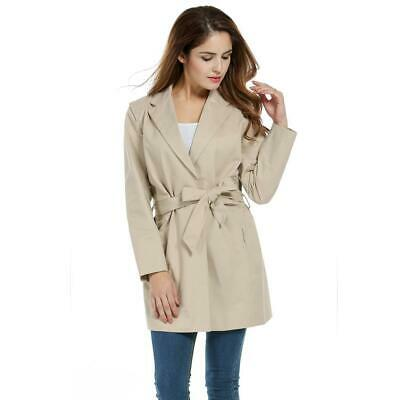 Women Vintage Style Lapel Long Sleeve Solid Long Trench Coat with Belt B98B 02