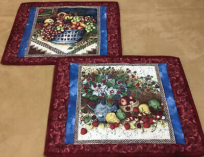 Two Patchwork Quilt Placemats, Hand Made. Fruit Basket & Flower Design, Berries