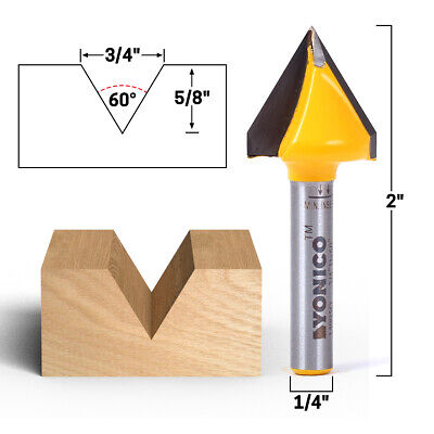 Yonico 14104q 18/° Zero Point V Groove Engraving Solid Carbide Router Bit 1//4-Inch Shank