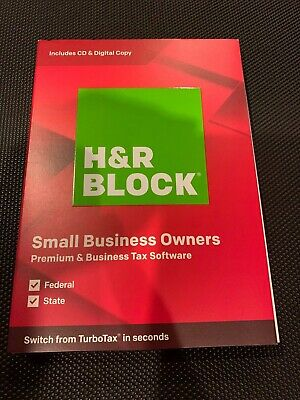 NEW! H&R BLOCK Premium  & Business Tax Software 2019 (CD & Digital) for PC ONLY