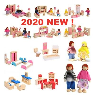 Dolls House Furniture Wooden Set Miniature 6 Room People Doll Toys For Kids Gift