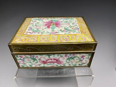 Antique Republic Period Chinese Porcelain Brass Mounted Box