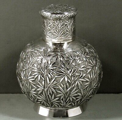 Chinese Export Silver Tea Caddy                      c1890 Signed
