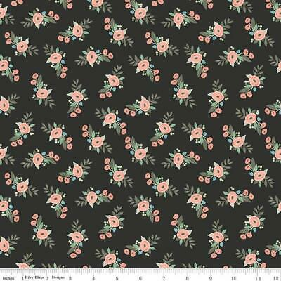 FLOWERS /& VINES ON BLACK COTTON #2799 FOR HOBBY LOBBY 1 1//3 YARD