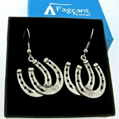 A Pair Of Horseshoes Silver Pewter Earrings