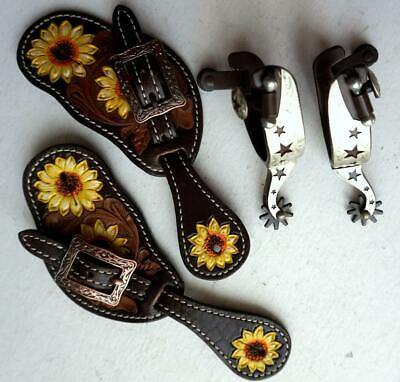 """Spur straps Kids Youth 7~9/"""" Western PINK Bling Filigree Great Gift Combo Spurs"""