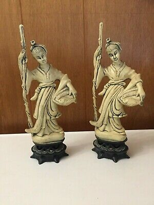 2 Vintage Resin Ivory Color Figurines,  Asian Woman Carrying Fish-made Hong Kong
