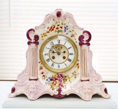 Antique French Victorian Pink Porcelain Floral Mantle / Shelf Clock