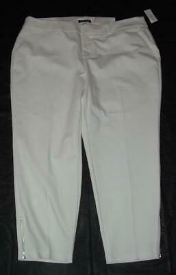 NEW NWT White Plus 2X 18 / 20 Stretchy Signature Fit Ankle Pants ROZ & ALI