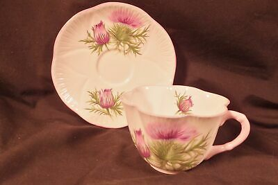 "Art Deco Shelley China Cup & Saucer Dainty ""Thistle"""