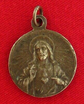 Vintage SACRED HEART OF JESUS Medal & OUR LADY OF MOUNT CARMEL Medal Marked OBC