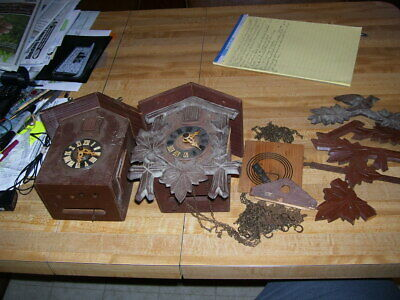 Pair of Vintage Black Forest Germany Cuckoo Clocks For Parts or Restore
