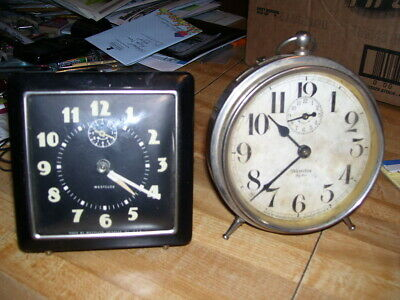 Pair of Antique Alarm Clocks Westclox and Patent 1919 Westclox Big Ben