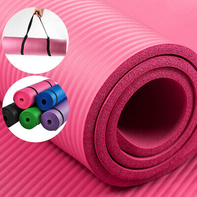 Non Slip Yoga and Pilates Exercise Gym Mat, 10mm/15mm  NBR Foam with Carry Strap