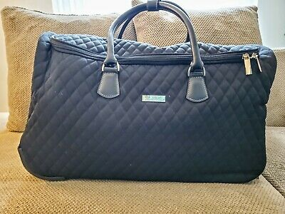 Vera Bradley Black Quilted Luggage Weekender Wheeled Travel Bag