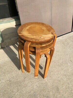 Mid Century Modern Alvar Aalto Sweden Nest Of Stacking Stack Tables Stools