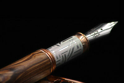 Athena Solid 925 Silver & Olive Wood Fountain Pen Medium Nib 1° Auction
