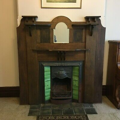 Vintage Cast Iron Fireplace and Timber Mantel early 1900's