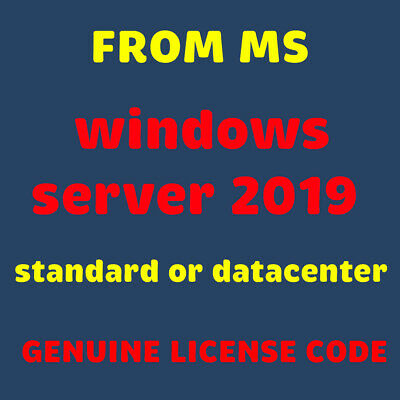 Windows Server 2019 Standard, Lifetime Genuine License product keys, instant