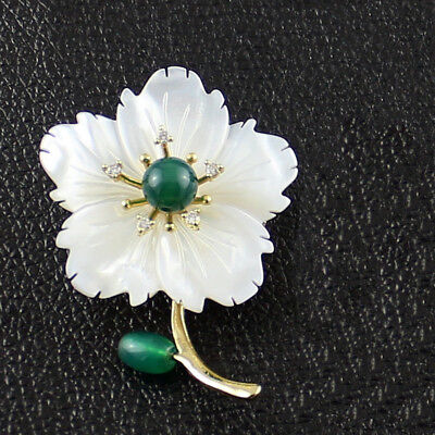 Natural White Flower Carved Shell Green Pearl Gemstone Brooches for Women Gifts