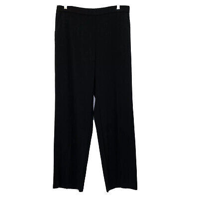 Dana Buchman Womens 12 Straight Mid Rise Relaxed Fit Slimming Slacks Pants Black