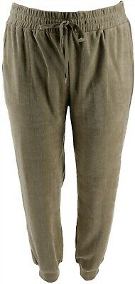 AnyBody Loungewear Baby Terry Jogger Pants Pockets Olive 1X NEW A310045