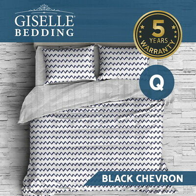 Giselle Queen Quilt Cover Set Bed Reversible Doona Duvet Sets Wave Black White